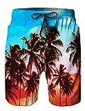Mens Hawaiian Palm Tree Red Swim Trunks Big and Tall Beach Board Shorts