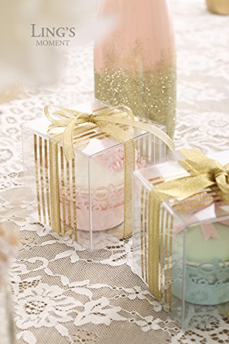 Lings Moment 25 Pcs 3x3x3 Clear Wedding Favor Box In Gold