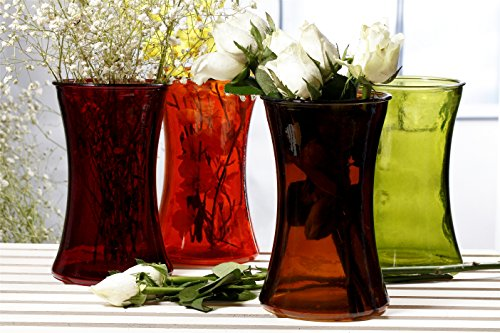 V-More Medium Glass Flower Vase in Tall Round Flared Shape, Multicolored (Orange, Red, Green, Brown), 8-inch Tall, For Home Decor, Wedding, Party, Celebration 【Set of 4 (1 for each color)】