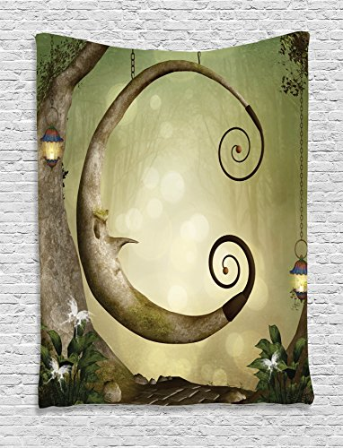 Ambesonne Cartoon Decor Collection, Forest Secret Swing Old Tree Curly Half Moon Shaped Lamps and Butterflies Lights Image, Bedroom Living Room Dorm Wall Hanging Tapestry, Khaki Olive
