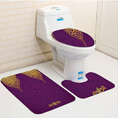 Keshia Dwete three-piece toilet seat pad customPurple Eastern Oriental Royal Palace Patterns with Bohemian Style Art Traditional Wedding Purple Gold ()