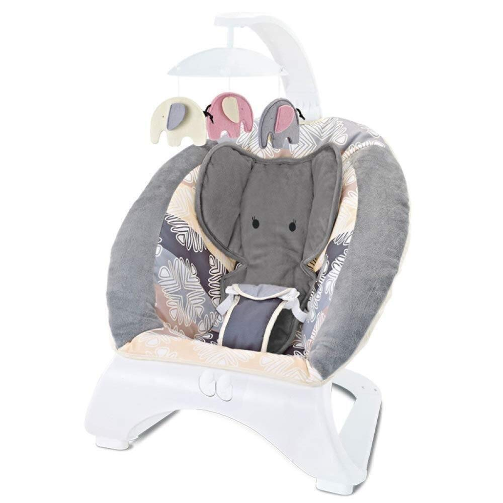 RENKUNDE Baby Rocking Chair Baby Bouncer Chair Music Baby Cradle Recliner Soothing Vibration New-Born Baby Swing Chair, Suitable from Birth Baby Rocking Chair (Color : Grey) by RENKUNDE