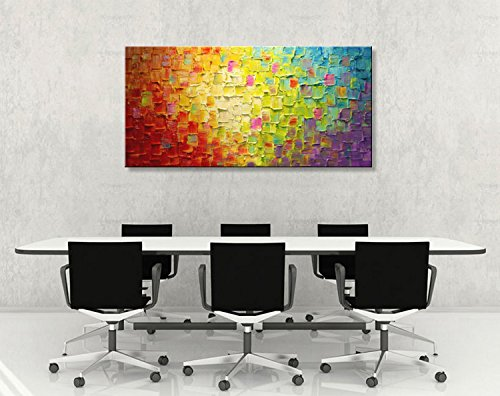 Seekland Art Hand Painted Texture Large Oil Painting on Canvas Abstract Wall Art for Living Room Decor Contemporary Artwork Framed Ready to Hang (Framed 5628 inch) by Seekland Art