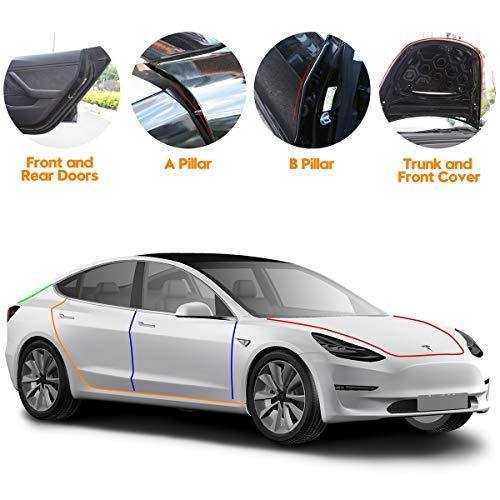 (Tesla Model 3 Door Seal Kit,Wind Noise Reduction Kit Soundproof Rubber Weather Draft Seal Strip Kit)