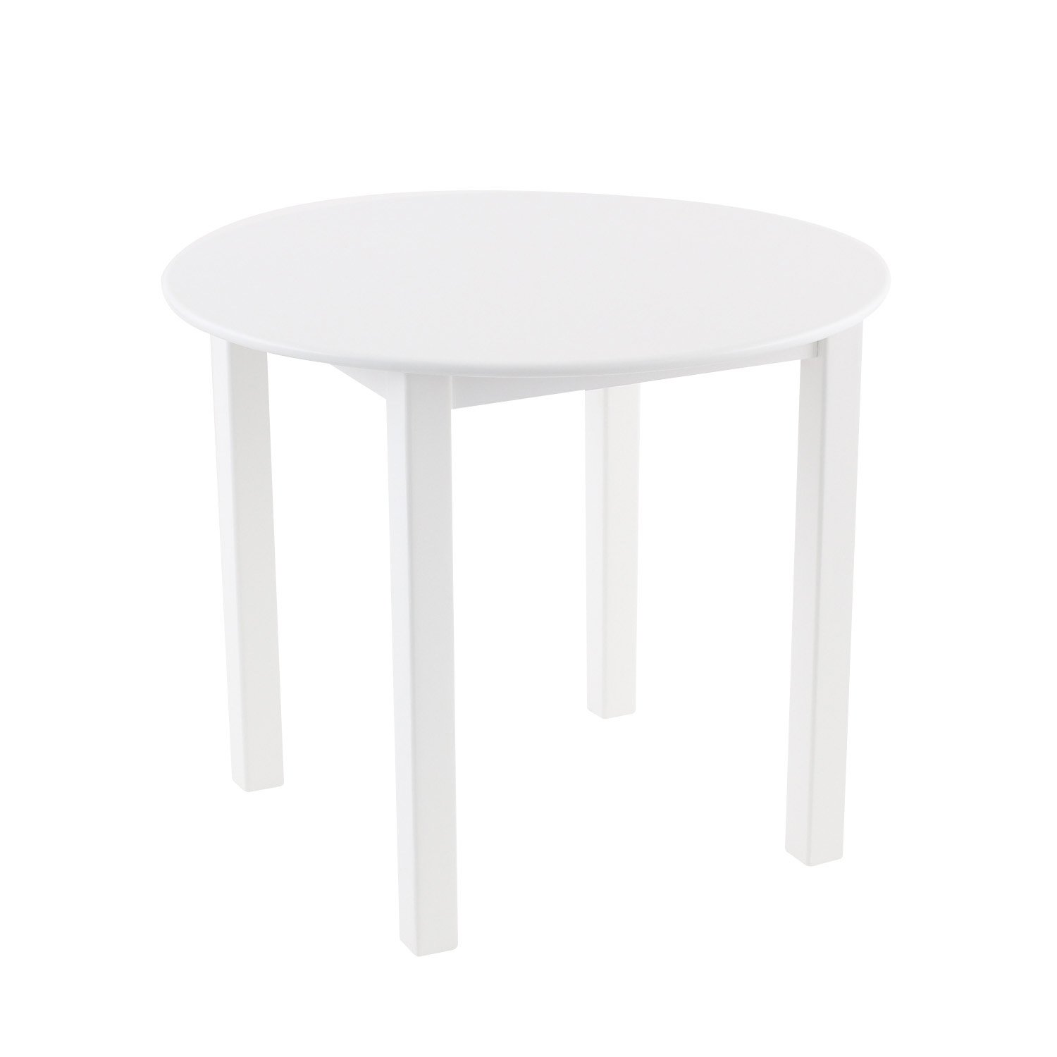 Max & Lily Natural Wood Kid and Toddler Round Table, White