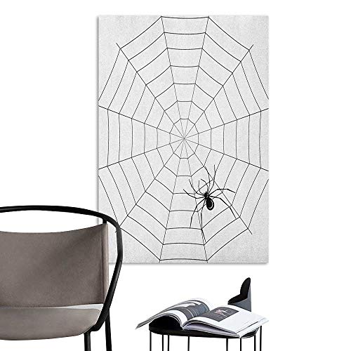 Jaydevn Waterproof Art Wall Paper Poster Spider Web Toxic Poisonous Insect Thread Crawly Malicious Bug Halloween Character Design Black White Bedroom Wall W24 x H36]()