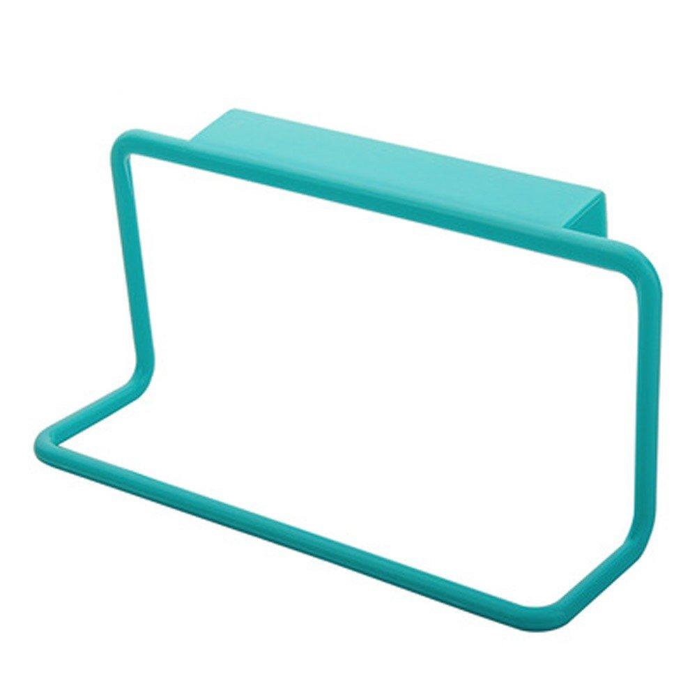Sdoveb Towel Rack Kitchen Hanging Holder Organizer Bathroom Kitchen Cabinet Cupboard Hanger (Blue)