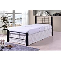 Black Metal Modern Platform Bed Frame Twin Size, Headboards and Footboard with Solid Wood Legs and Full Slats - Need Mattress only, No Box Spring