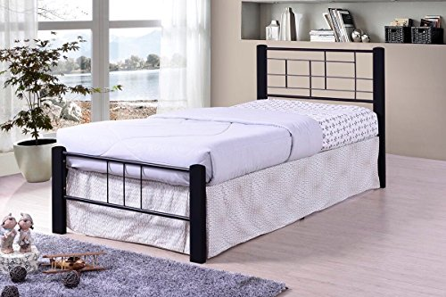 Black Metal Modern Platform Bed Frame Twin Size, Headboards and Footboard with Solid Wood Legs and Full Slats - Need Mattress only, No Box Spring (Beds Wood Platform Modern)