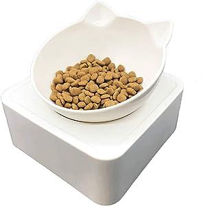 ALBOLET Elevated Cat Bowl, Raised Cat Dog Bowl, Titled Cat Bowl, Magnetic Adjustable Raised Cat Dog Food Bowl, Non-Slip Sloping Design,Dog Cat Bowl Raised ,White