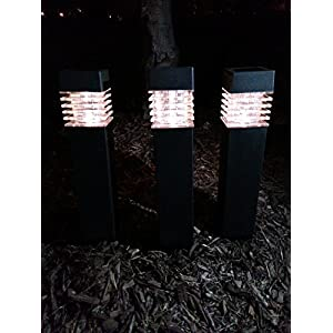 Sogrand Solar Square Bollard Pathway Decoration Garden Stake Light With White Led, Set of 3