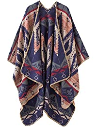 Women's Color Block Shawl Wrap Open Front Poncho Cape