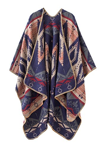 - Urban CoCo Women's Color Block Shawl Wrap Open Front Poncho Cape (Navy blue)