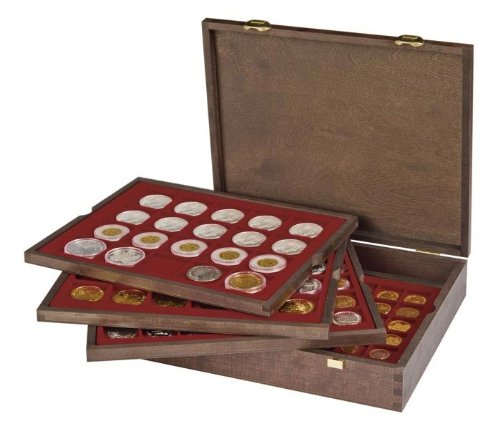 Coin Box Wooden Display Case for 80 Coin Holders 2x2
