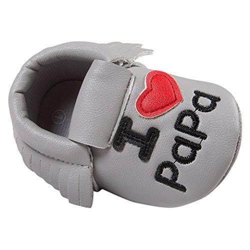 Happy Cherry Zapatos con Borlas Mocasines de PU Piel Suaves Zapatitos Primeros Pasos Calzado Infantil para 3-18 Meses Bebés Niñas Niños Baby Shoes Gris