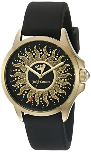 Juicy Couture Women's 'Jetsetter' Quartz Gold-Tone and Silicone Casual Watch, Color:Black (Model: - New In California Outlets
