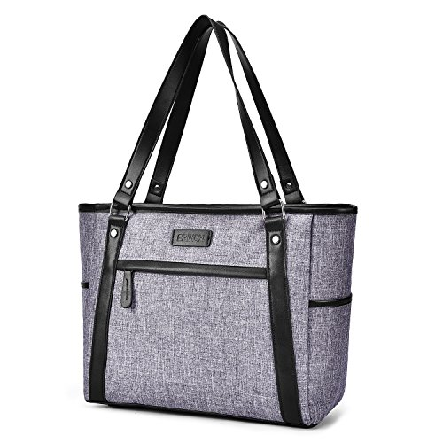15.6 Inch Laptop Tote Bag Lightweight Stylish Satchel for Women Durable Nylon Travel Bag Casual Shopping Handbag Large Capacity Business Briefcase Multi-function Zipper Shoulder Bag,Gray