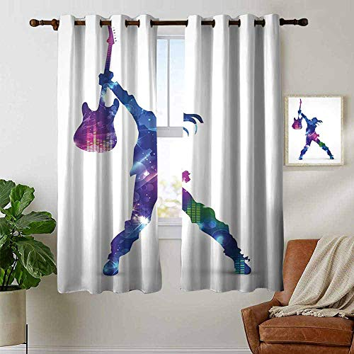 (petpany Window Curtains Rock Music,Star Colorful Composition Musical Design Artistic Illustration Party Pattern,Multicolor,Tie Up Window Drapes Living Room 42
