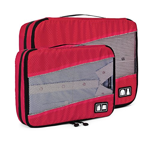 BAGSMART Water-resistance Travel Packing Cubes 2 PCS Sets Luggage Organizer with Double Compartments, Red by BAGSMART