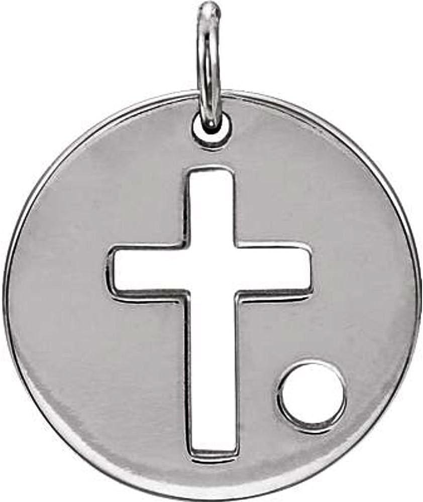 Sterling Silver Pierced Cross Disc Necklace Pierced Cross Disc