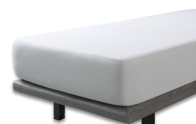 Protector Rizo impermeable para colchon de 90x190/200. Rizo algodón 100% con tratamiento de Aloe Vera
