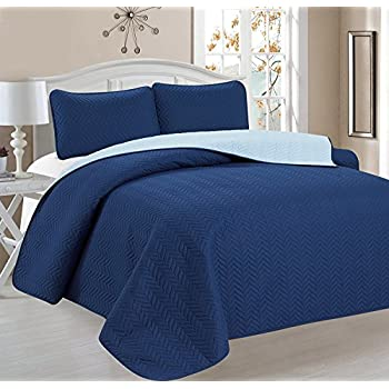 Deluxe Chevron Design Reversible 3pc Coverlet Quilt Set BedSpread – FULL/QUEEN Size – Blue / Light Blue