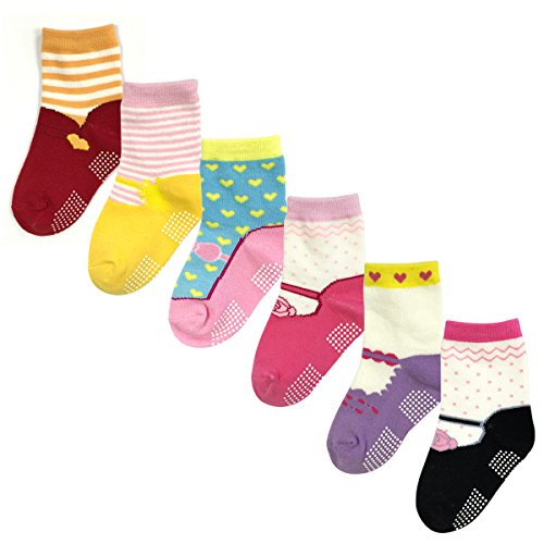 Wrapables Precious Mary Jane Non-Skid Socks (Set of 6), Set 1