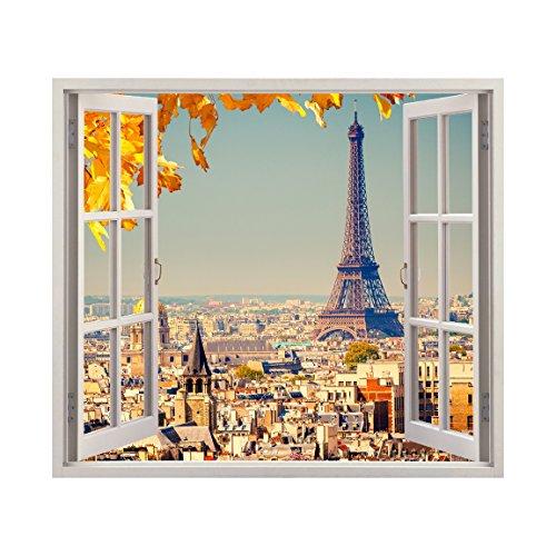 Paris in Fall Windowscape - Wall Decal - autumn wall decor
