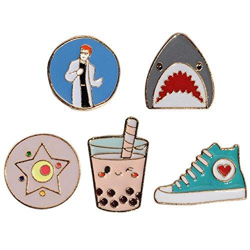 PunkStyle Novelty Animal Enamel Brooches Badge for Women Girls Children for Clothing Bag (Shark Milk Tea Shoes Brooch 5pcs) from PunkStyle
