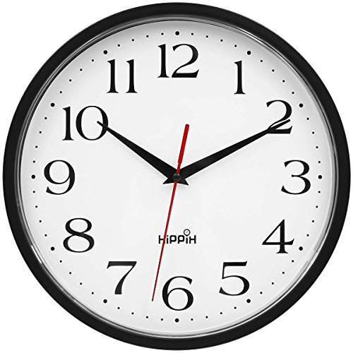 (HIPPIH 10 Inch Silent Wall Clock, Non Ticking Digital Decorative Clocks,Quiet & Sweep Clock for Home/Office/School)
