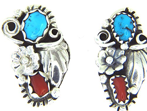 USA made by Navajo Artist Les Hill: Hand crafted sterling-silver Turquoise & Red Coral - Stud Turquoise Coral