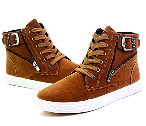 WZG El alto-top de la moda gruesas botas casuales corteza Martin zapatos de los hombres botas cortas de los hombres de los zapatos del hip-hop Brown