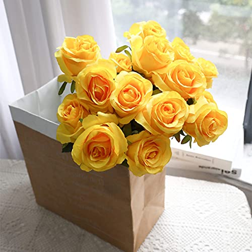 Hawesome Artificial Flowers 10 PCS Silk Roses with Long Stems Faux Realistic Roses for Wedding Bouquets Table Centerpieces Party Home Decor(Yellow)