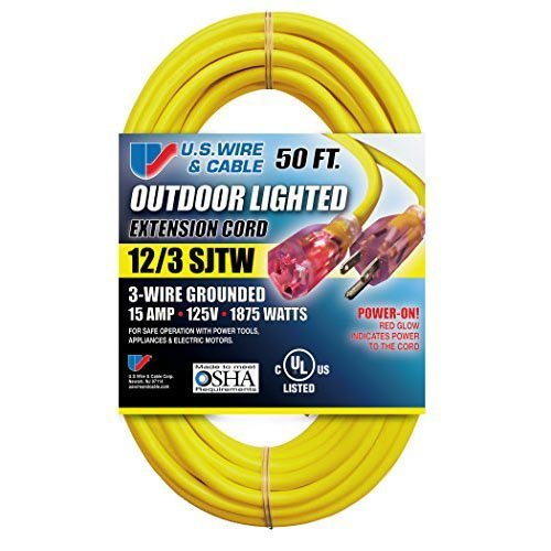 US Wire - Power-On Lighted Extension Cord - SJTW Heavy-Duty - Safety Yellow - 74100 12/3 100-Feet