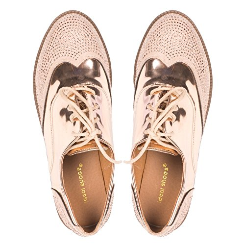 Ideal Shoes, Damen Schnürhalbschuhe Champagne