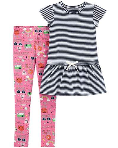 Carter's Girls' 2-Piece Top & Legging Set (4/5, Striped Flutter-Sleeve Top/Graphic Legging)
