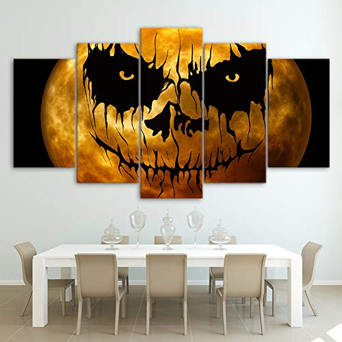 TYUPS ArtSailing HD Print 5 Piece Canvas Painting Halloween Pumpkin Posters Wall Art Pictures for Living Room Home Decorarion,A,20X35X2+20X45X2+20X55X1]()
