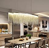 7PM W47″ x H14″ Modern Linear Aluminum Chandelier Light Pendant Lamp Modern Contemporary Chandelier Lighting Fixture for Dining Room Over Table For Sale