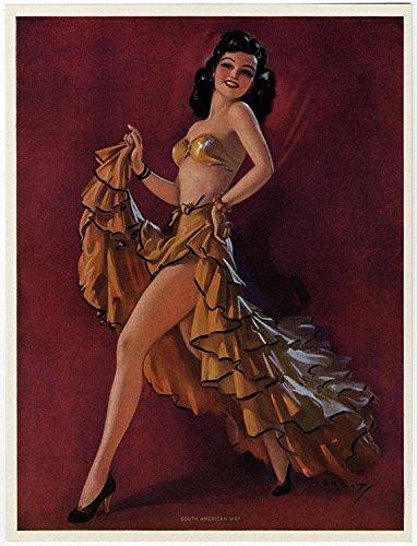 Vintage 1940s Original Jules Erbit Pin-Up Girl Calendar Art Print Lithograph Titled South American Way Dancing Latin Brunette Beauty Antique