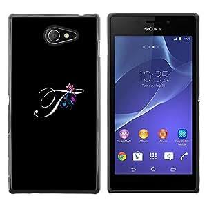 Be Good Phone Accessory // Dura Cáscara cubierta Protectora Caso Carcasa Funda de Protección para Sony Xperia M2 // Black Initials Letter Calligraphy Text