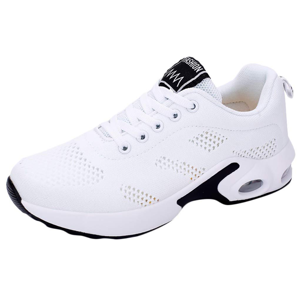HENWERD Women's Tennis Shoes Lightweight Comfortable Casual Athletic Walking Sneakers (White,5.5 US)