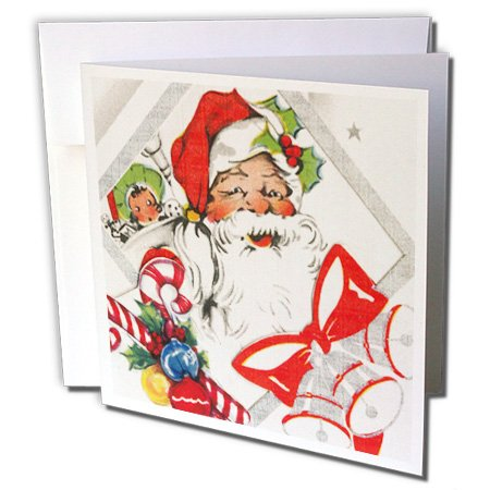 3d Rose 3dRose Santa With Candy Canes - Greeting Cards, 6...