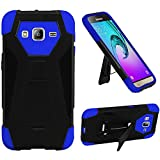 HR Wireless New T-Stand Cover Cell Phone Case for Samsung Galaxy J3 - Retail Packaging - Black/Blue