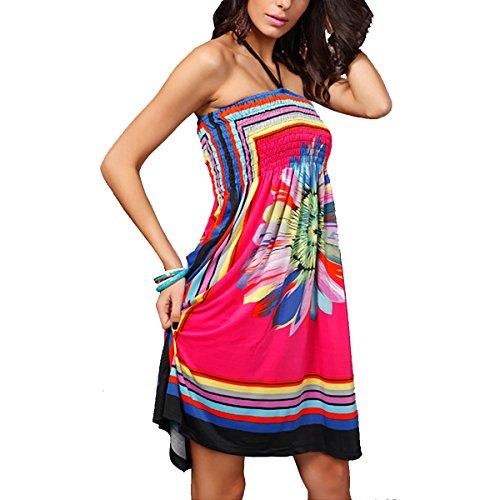 QBQ floral rosa Beach sin Sun Vestido traje 01 Traje Bandeau Cover delgado baño Mujeres de étnicos Up de baño tirantes Style Boho xx5qW1rY7w