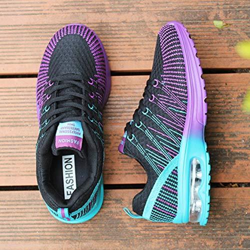 Aire con Transpirable Zapatos Deportivo Zapatillas Malla Ligeras 37 Mujer con Calzado Libre atléticos Cordones de Cordones al Jogging Negro tEz1wxq