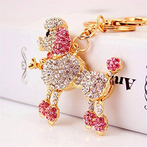 Jzone Cute Animal Poodle Keychain Sparkling Keyring Crystal Rhinestones Purse Pendant Handbag Charm (pink&gold)