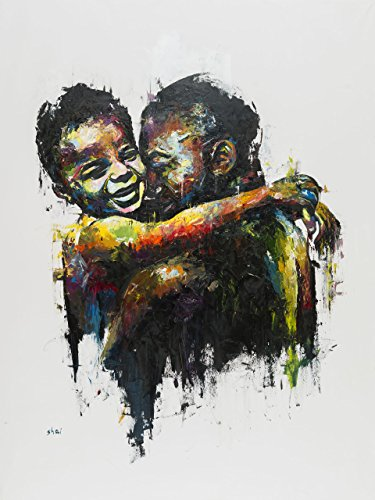 Amazing Extra-large painting print on canvas by the artist Shai Yossef,wall art decor,decorative,Art Collectibles,Father and son portrait,family picture,love 80/80cm (31.4