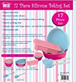 Babymad Ltd 17 Piece Silicone Bakeware Baking Set - Cupcake, Round Cake, Loaf Moulds + Spatula & Pastry Brush