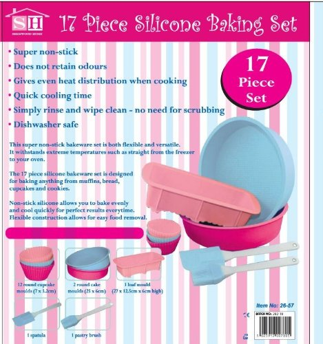 Babymad Ltd 17 Piece Silicone Bakeware Baking Set - Cupcake, Round Cake, Loaf Moulds + Spatula & Pastry Brush by BabyMad