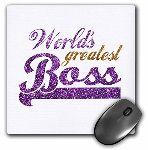 3dRose LLC 8 x 8 x 0.25 Inches Mouse Pad, Worlds Greatest Boss Best Work Boss Ever Purple And Gold Text Faux Sparkles Matte Glitter Look (mp_151286_1)